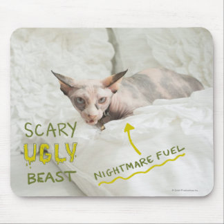 Scary Ugly Cat Mouse Mat