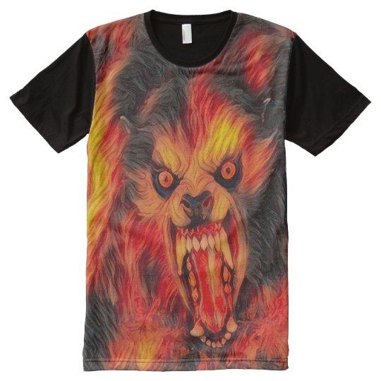 Scary Werewolf Fire Dark Horror Art All-Over Print T-Shirt