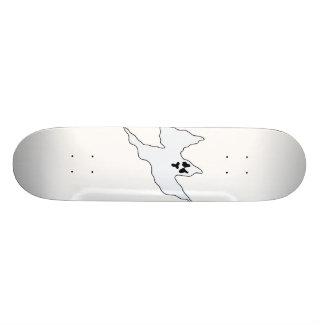 scary white ghost mean arms up skate board deck