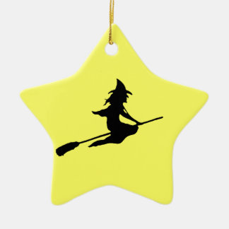 Scary Witch and Broom Christmas Ornament
