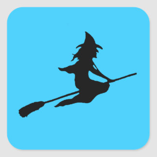 Scary Witch and Broom Square Sticker
