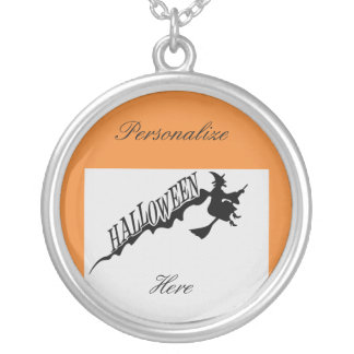 Scary Witch Riding Broom Halloween Thunder_Cove Silver Plated Necklace