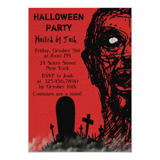 Scary Zombie Halloween Invitation