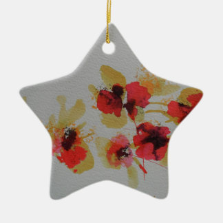 Scatter of scarlet red poppy flowers ceramic star decoration