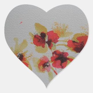 Scatter of scarlet red poppy flowers heart sticker
