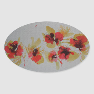 Scatter of scarlet red poppy flowers oval sticker