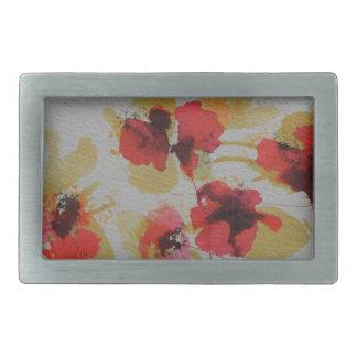 Scatter of scarlet red poppy flowers rectangular belt buckle