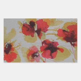 Scatter of scarlet red poppy flowers rectangular sticker