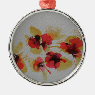 Scatter of scarlet red poppy flowers Silver-Colored round decoration