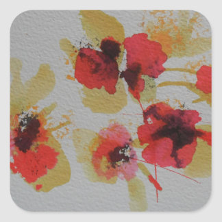 Scatter of scarlet red poppy flowers square sticker