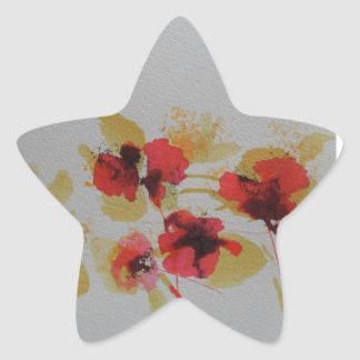 Scatter of scarlet red poppy flowers star sticker