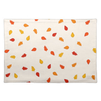 Scattered Autumn Leaves Pattern Placemat