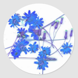 Scattered blue colored wild flowers round stickers