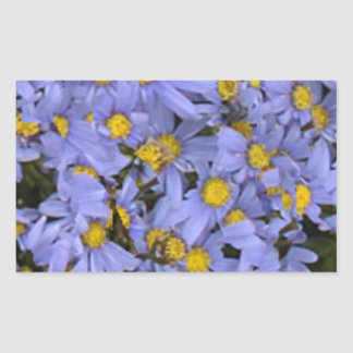 Scattered bunch of blue daisies, very pretty! rectangular sticker