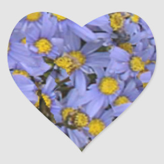 Scattered bunch of blue daisies, very pretty! heart stickers