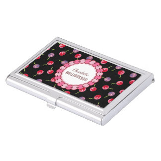 Scattered Cherries Watercolor Personalized Business Card Holder