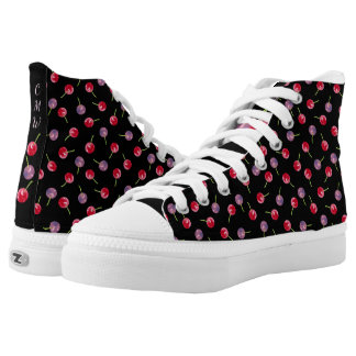 Scattered Cherries Watercolor Personalized High Tops