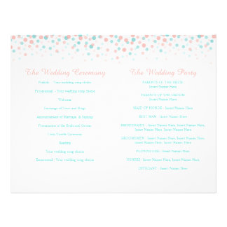 Scattered confetti dots coral teal wedding program 21.5 cm x 28 cm flyer