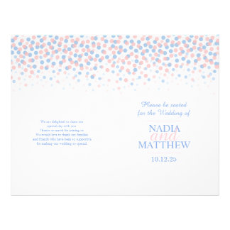 Scattered confetti dots pink blue wedding program 21.5 cm x 28 cm flyer