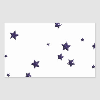 SCATTERED DARK PURPLE STARS ACCENTS TEMPLATE BACKG RECTANGULAR STICKER