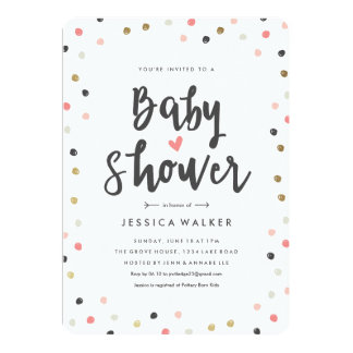 Scattered dots faux foil baby shower invitation
