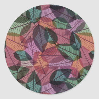 Scattered Fall Leaves Green Taupe & Salmon Round Sticker