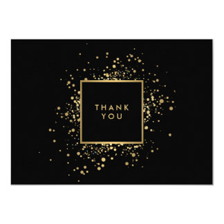 Scattered Faux Gold Confetti Black Thank You Card