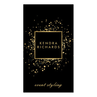 Scattered Faux Gold Confetti on Modern Black Pack Of Standard Business Cards