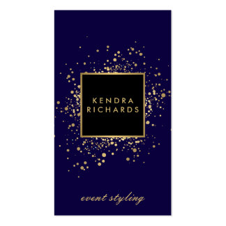 Scattered Faux Gold Confetti on Modern Blue Pack Of Standard Business Cards