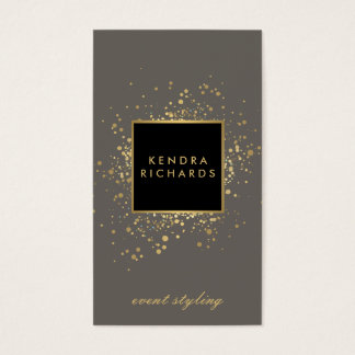 Scattered Faux Gold Confetti on Modern Gray