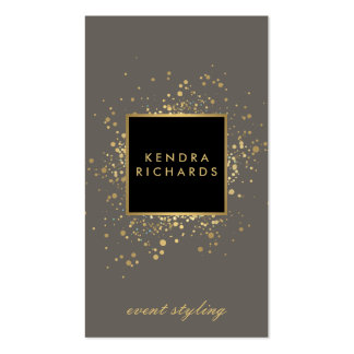 Scattered Faux Gold Confetti on Modern Gray Pack Of Standard Business Cards
