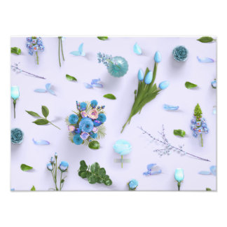 Scattered Flowers Blue Art Photo