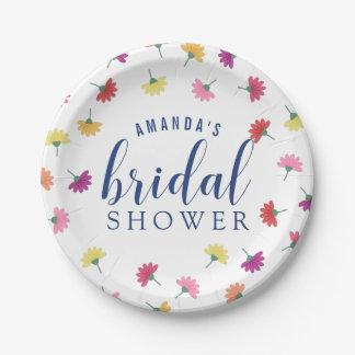 Scattered Flowers Custom Name Bridal Shower Paper Plate