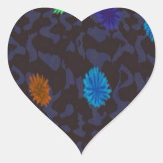 scattered flowers on dark ground heart sticker