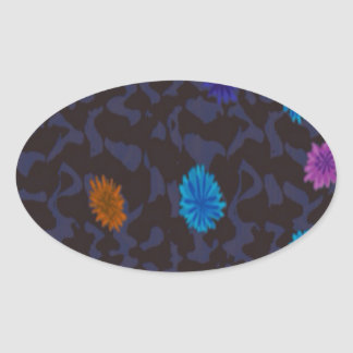 scattered flowers on dark ground oval stickers