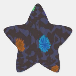 scattered flowers on dark ground star sticker