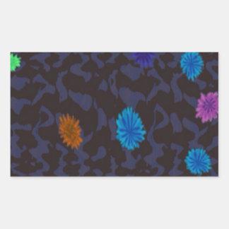 scattered flowers on dark ground rectangular sticker