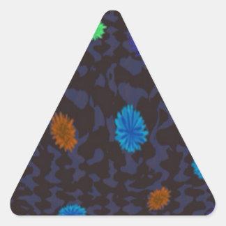 scattered flowers on dark ground triangle sticker
