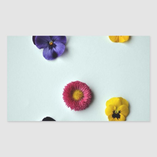 Scattered Flowers on white background Rectangular Stickers