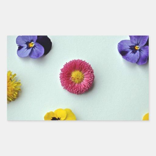 Scattered Flowers on white background Rectangular Sticker