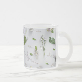 Scattered Flowers White Frosted Glass Mug