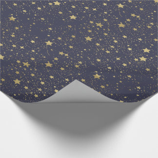 Scattered Gold Navy Blue Stars Wrapping Paper