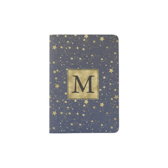 Scattered Gold Stars Monogram Passport Holder