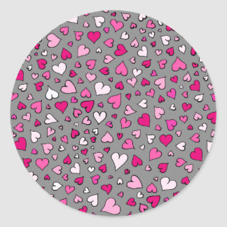 Scattered Hearts Classic Round Sticker