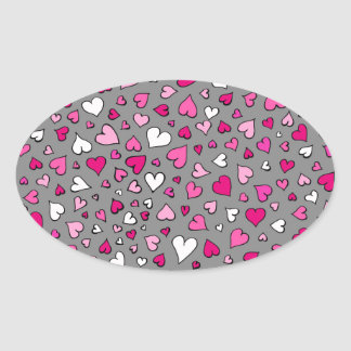 Scattered Hearts Oval Sticker