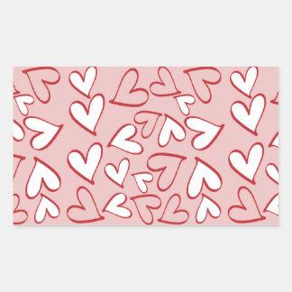 Scattered Hearts Pattern Rectangular Sticker