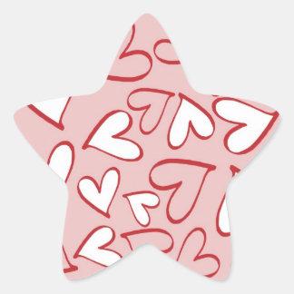 Scattered Hearts Pattern Star Sticker