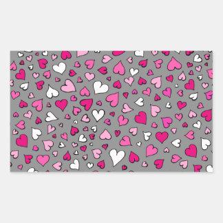 Scattered Hearts Rectangular Sticker