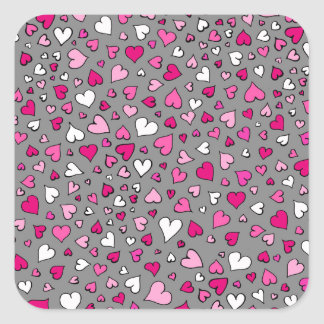 Scattered Hearts Square Sticker