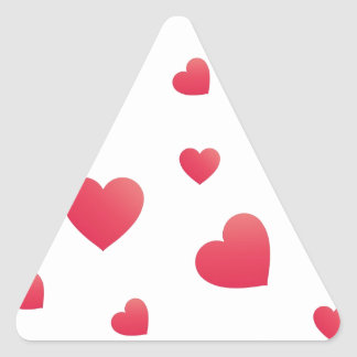 Scattered hearts triangle sticker
